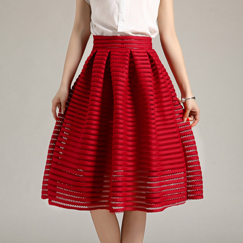 2015 Large Size Summer Style Vintage Skirt Solid Reds Women Skirts Casual Hollow Out Fluffy Pleated