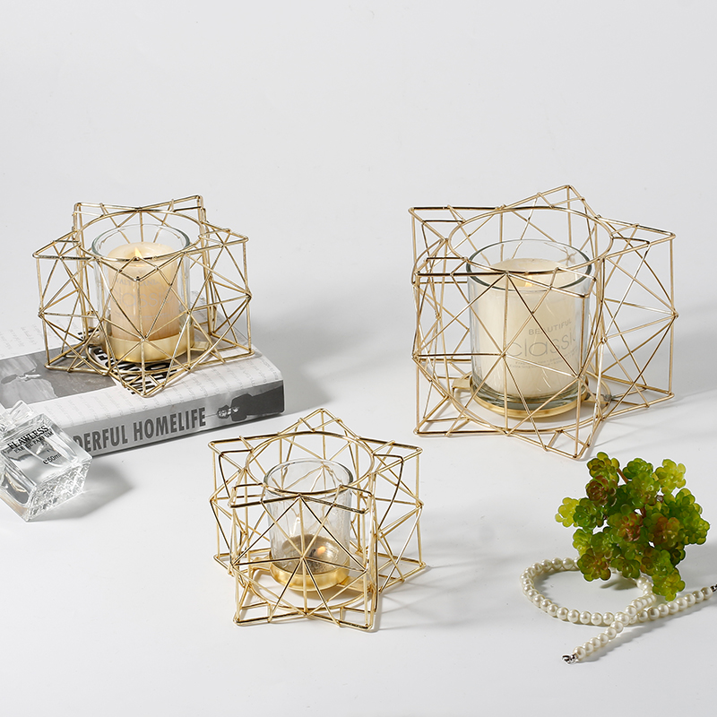 Bougeoir en fer jaune doré bougie modèle géométrique européen ameublement dîner décor accessoires ornements