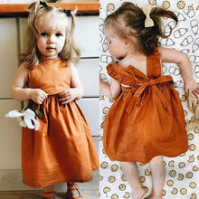 цена на Newborn Baby Girls Infant Bowknot Sleeveless Cotton Ruffled Vest Dress Back Crisscross Dress Party Prom Dress Summer Outfits