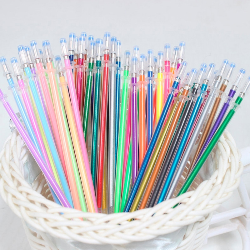 48Pcs/set Flash Gel Pen Refill Color Full Shinning Refill For The ChildS Drawing Ball Po ...
