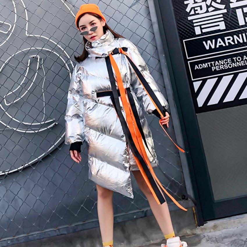 Hiver Veste L1513 De silver Épaissir Irrégulière Streamer Gray Black Chaud Mode Pain Manteau Parkas Femmes Boucle Lâche Coton Survêtement ftrxtZ