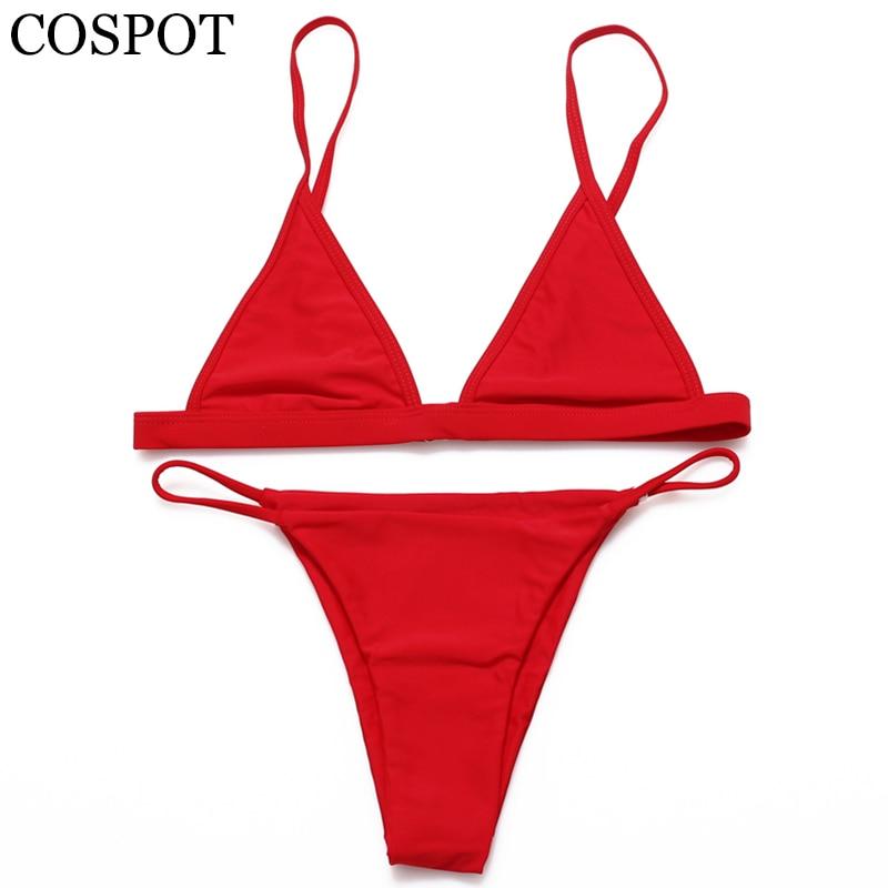 COSPOT traje de baño Mujer Bikini 2019 Mujer sólido Sexy Push Up brasileño Bikini traje de baño Mujer traje de baño para Mujer