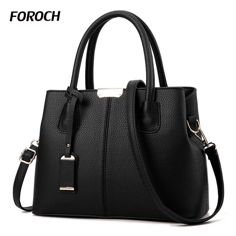 FOROCH Brand Women Bag Top-handle Bags Female Handbag Designer Hobo Messenger Shoulder Bags Evening Bag Leather Handbags sac 352 genuine leather cross body top handle bags embossed natural skin hobo vintage female women messenger shoulder tote handbag