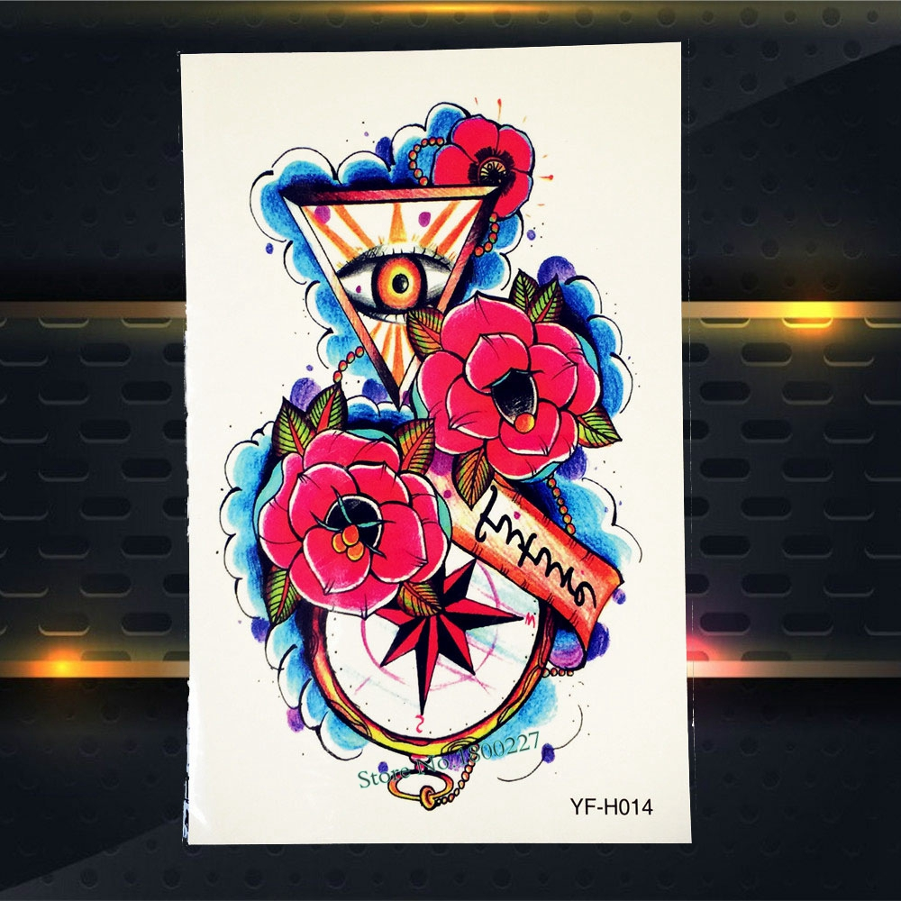 Men Women Body Art Arm Tattoo Sleeve Rose Compass Triangle Eye Of God Design Waterproof Decals Temporary Tattoo Stickers PYFH014