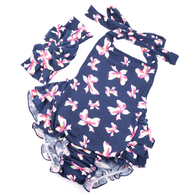 65e927c7a3a Newborn Navy baby rompers One Pieces Jumpsuits Roupas Infantil toddler girl  rompers cotton Bow prints romper+headband girls suit-in Rompers from Mother  ...