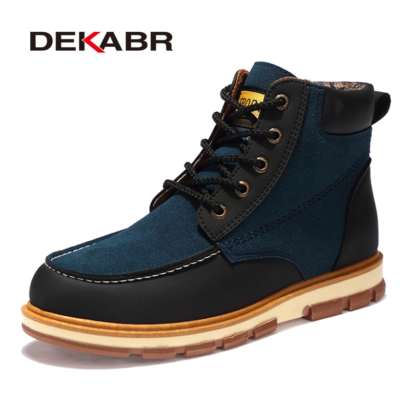 DEKABR Brand New Fashion Pu Leather Men Boots Comfortable Men Shoes Ankle Boots Short Plush Winter Warm Shoes Men Size 39~46