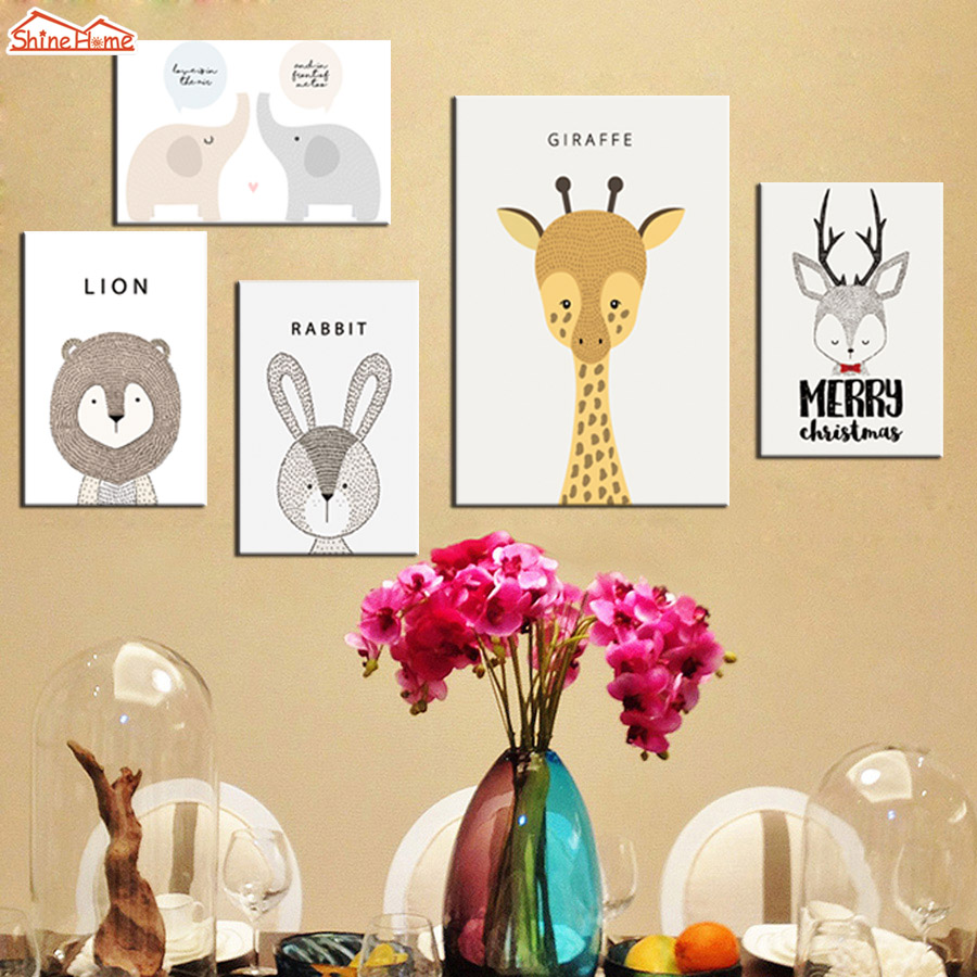 ShineHome 5pcs Wall Art Canvas Prints Nordic Style Kids Decorations ...