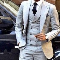 Custom Made New Style Light Grey Men Suit Double Breasted Slim Fit Skinny 3 Piece Tuxedo Groom Custom Blazer (Jacket+Pants+Vest)