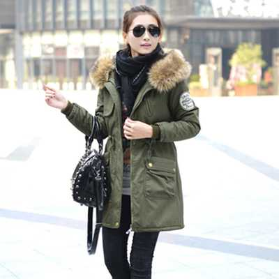 Fashion Women Winter Parka Jackets Slim Fit Army Green Coat With Big Fur Hood Ladies Plus Size Long Winter Coats Women A3850