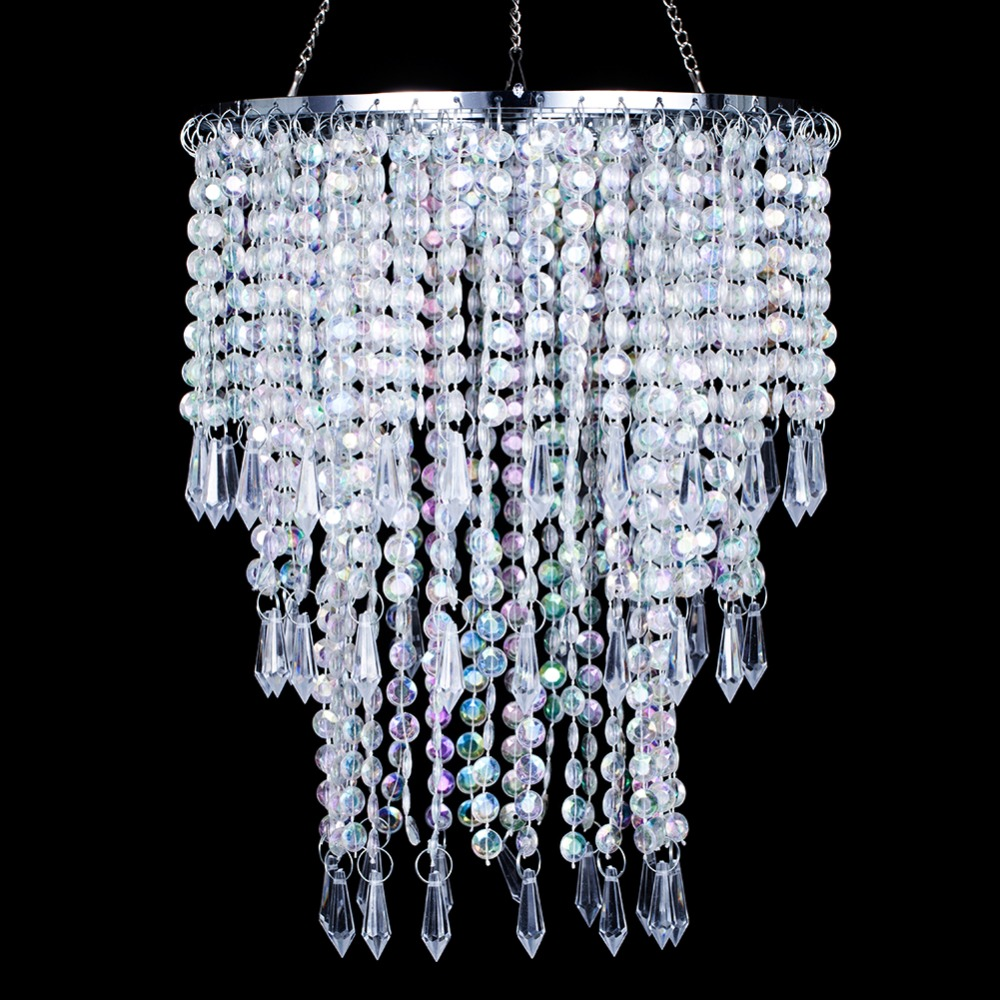 SUNLI HOUSE E27 Lamp Shade with Acrylic Beads Chrome Sliver Iron Frame use for chandelier lights shining kids room decoration