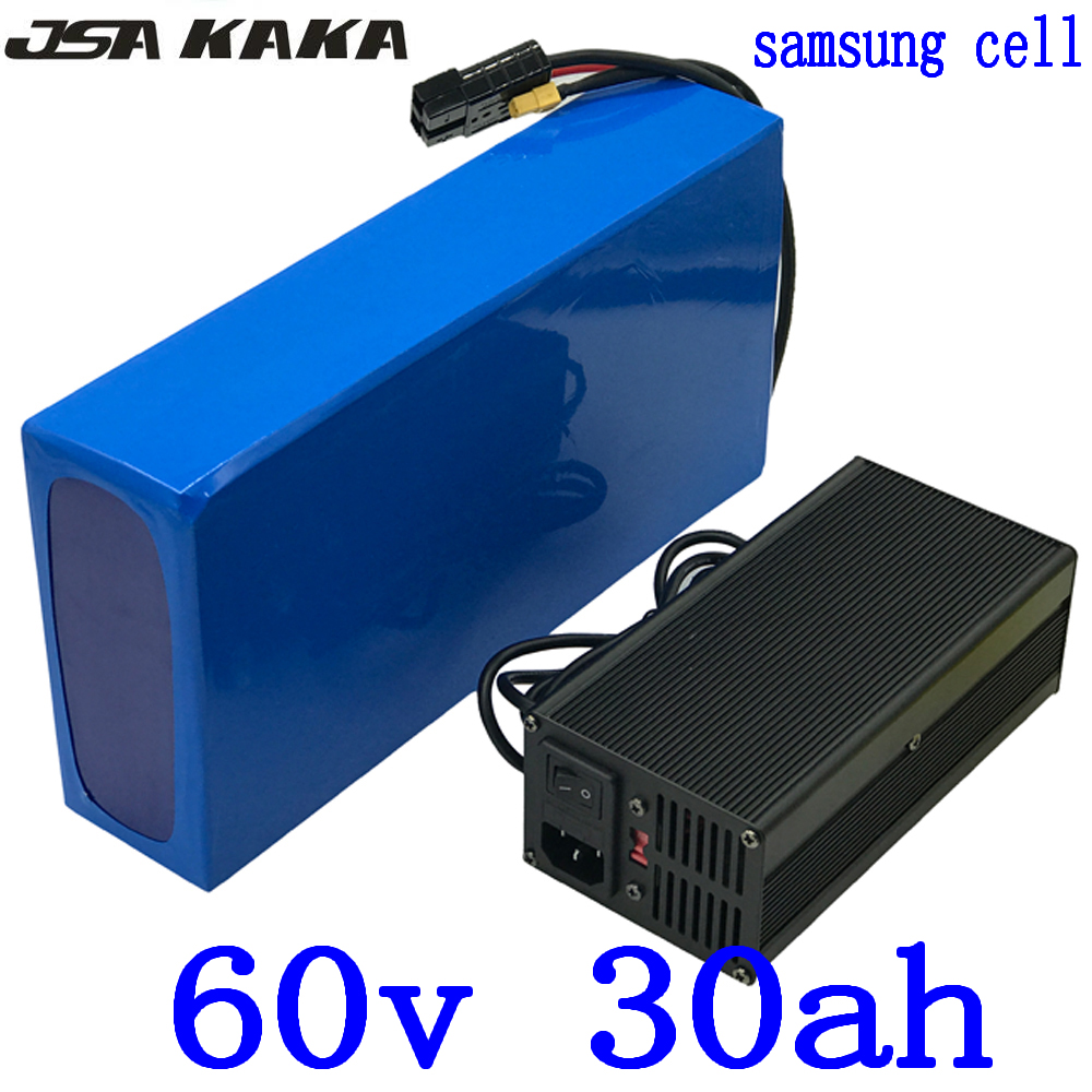 60V 30AH Lithium ion Battery 60V 2000W <font><b>3000W</b></font> <font><b>scooter</b></font> battery 60V electric bicycle battery use samsung cell with 50A BMS+charger image