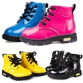 Niños chica PU Leather Lace Up alta los niños zapatillas bebé zapatos de deporte otoño invierno niños botas