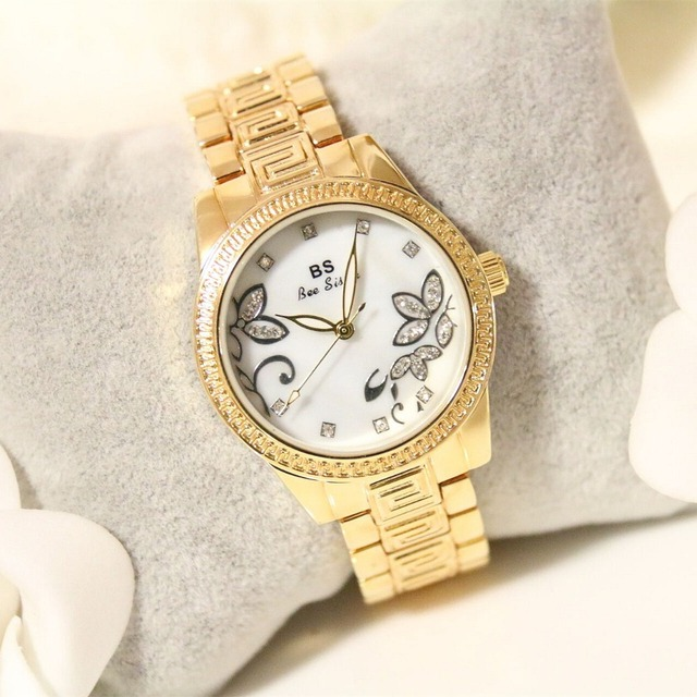 Dress Watches Women Gold Watch Fashion Brand Rhinestone Diamond Girls Waterproof