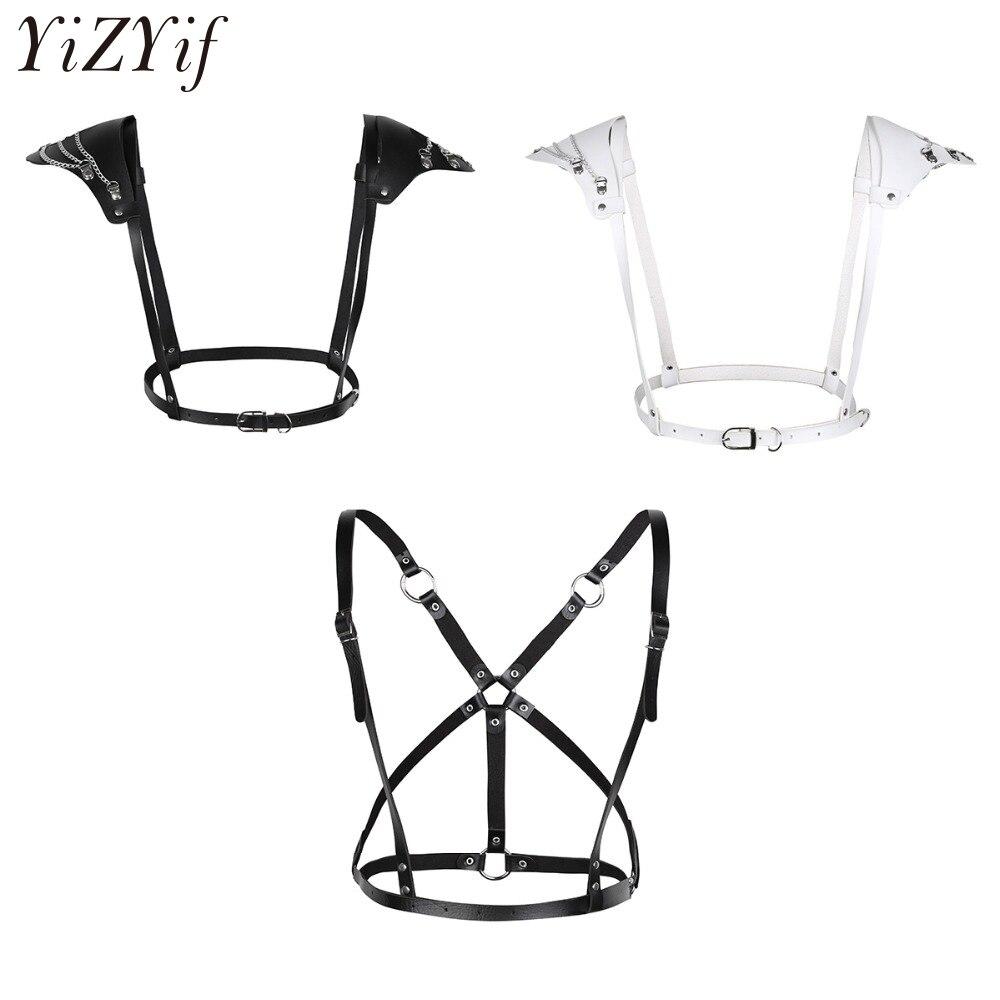 Sexy Punk Bondage Harness Fetish Wear Body Cage Bondage Belt with Shoulder Pads Harajuku Style Clothing Women Crop Top Bodysuit