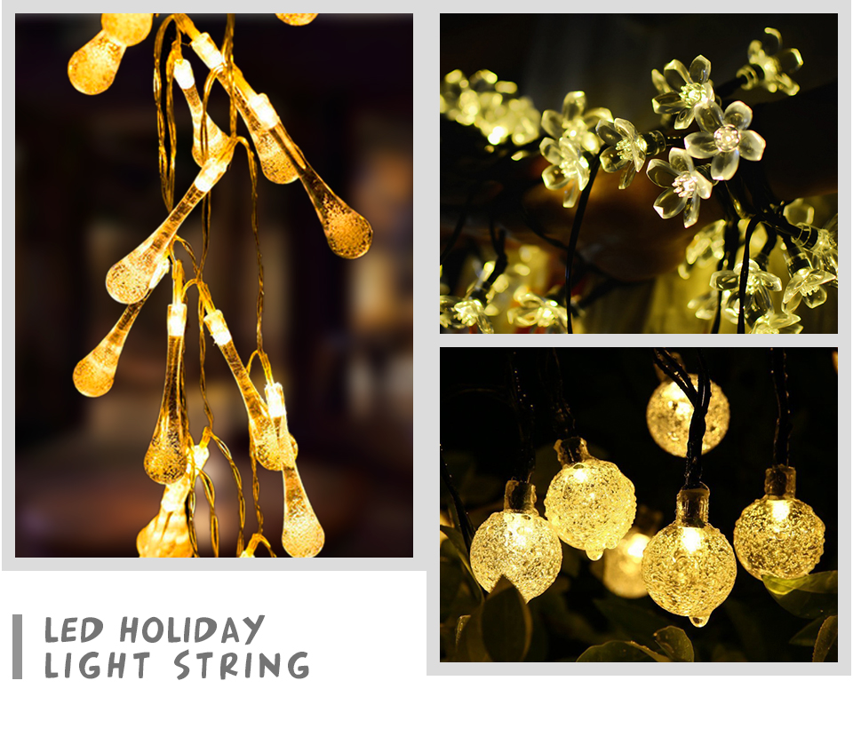 Peach Flower LED Solar Lamp Fairy String Light Outdoor Decoration Holiday Party Lights For Garden Christmas Tree Lawn Landscape (2)