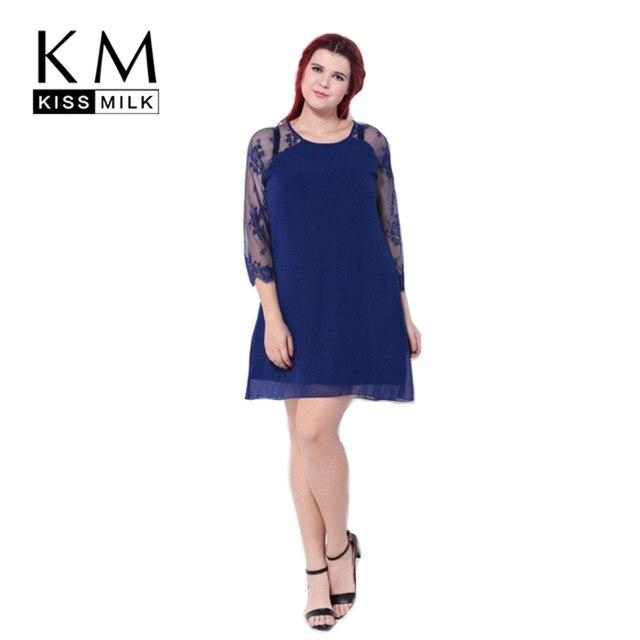 Kissmilk Plus Size Women Fashion Clothing Solid Color Sheer Three