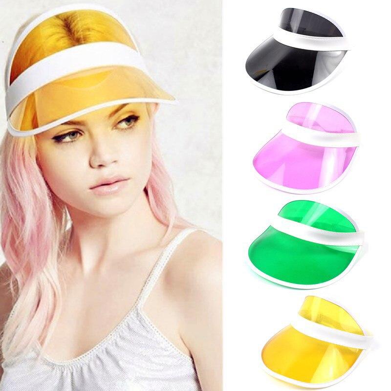 Dos Homens Das Mulheres de verão Chapéu de Sol Doce Cor Top Vazio Plástico  Transparente Sombrinha b389bd2a4b9