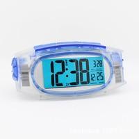 Transparent Luminous Small Alarm Clock Student Electronic Lcd Screen Snooze Alarm Clock Desktop Digital Calendar Alarm