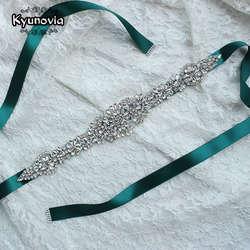 Kyunovia Кристалл Свадебные ремни атласные свадебное платье ремень свадебные аксессуары свадебные ленты створки пояса FB19