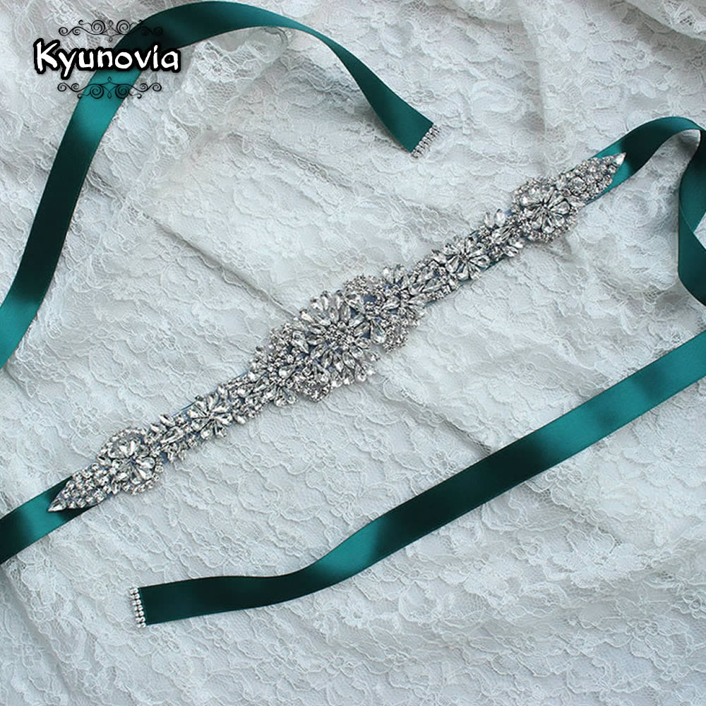 Kyunovia Sash Belt Ribbon Wedding-Belts Rhinestone Satin Crystal Bridal FB19