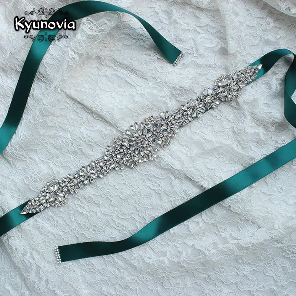 Kyunovia Crystal Wedding Belts Satin Rhinestone Wedding Dress Belt Wedding Accessories Bridal Ribbon Sash Belt FB19