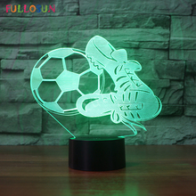 Soccer Table Lamp 3D Lights Optical USB Lamp Creative Night Light Baby &Kids Room Sleeping Lights as Birthday Gift creative 7 color horse head lamp 3d visual led night lights for kids touch usb table lampe baby sleeping night light