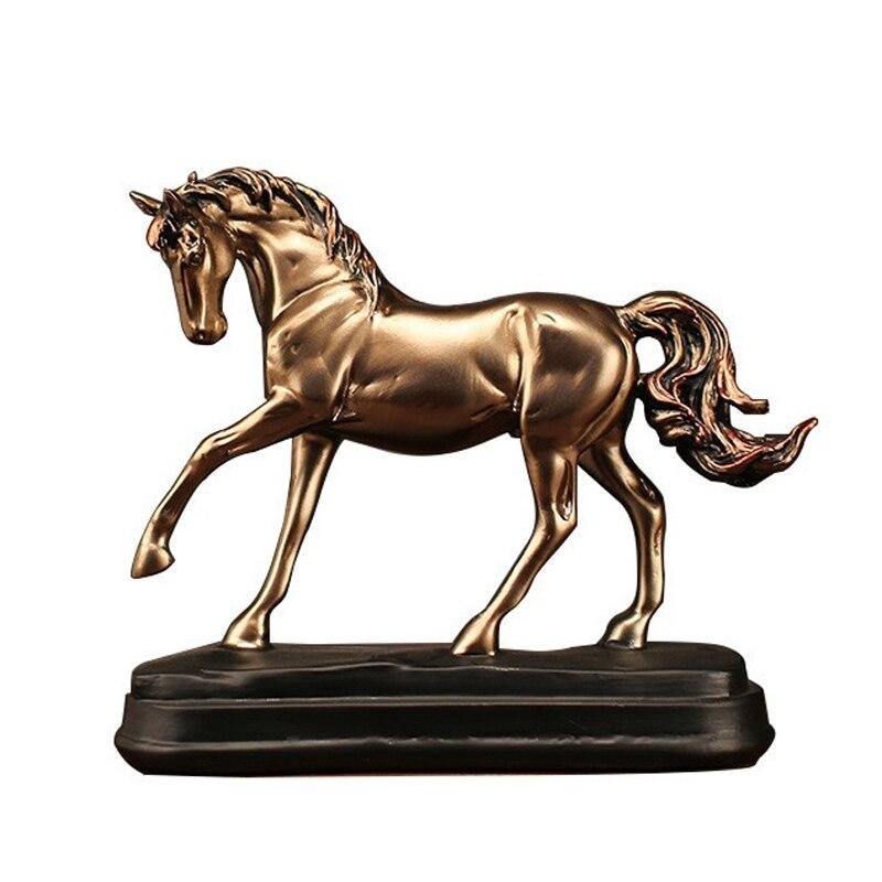 Vintage résine or cheval Statues Figurines ornements cheval Sculpture artisanat maison bureau décoration accessoires cadeaux mx5041445