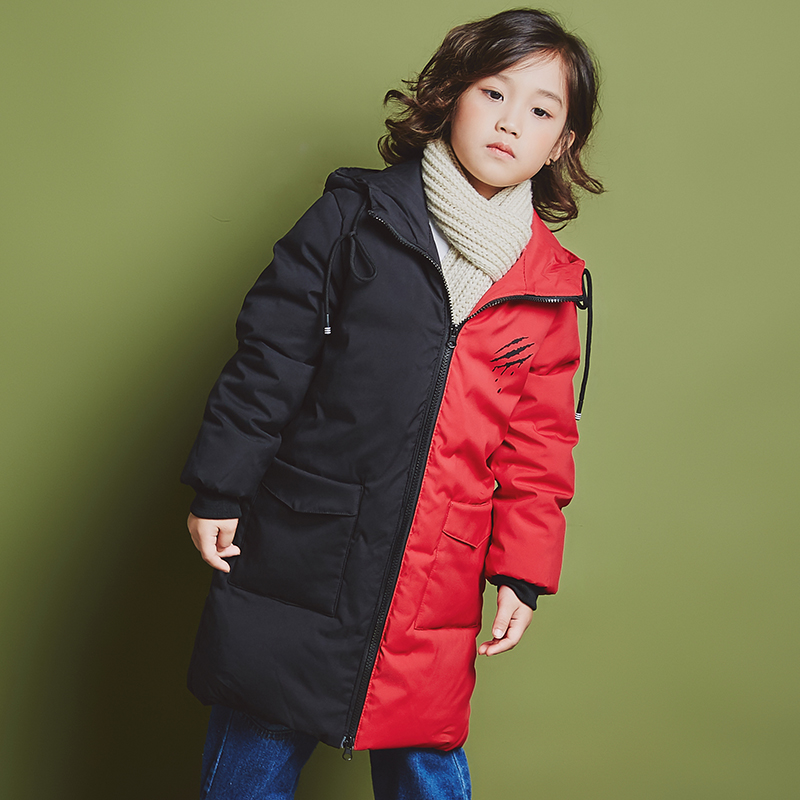 YH-1818 fashion Winter Girl Splice color Long Children Duck Down Jacket Thick Coat Warm Hooded Teenage kids parka Boy Outerwear 2015 new hot winter thicken warm woman down jacket coat parkas outerwear hooded splice mid long plus size 3xxxl luxury cold