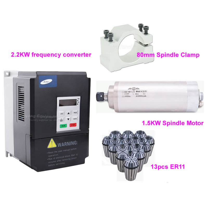 2.2KW Frequency Converter 1.5KW 80mm*188mm Water Cooled Spindle Motor with Clamp and 13PCS ER11 Spring Collet for DIY CNC Router water cooling spindle sets 1pcs 0 8kw er11 220v spindle motor and matching 800w inverter inverter and 65mmmount bracket clamp