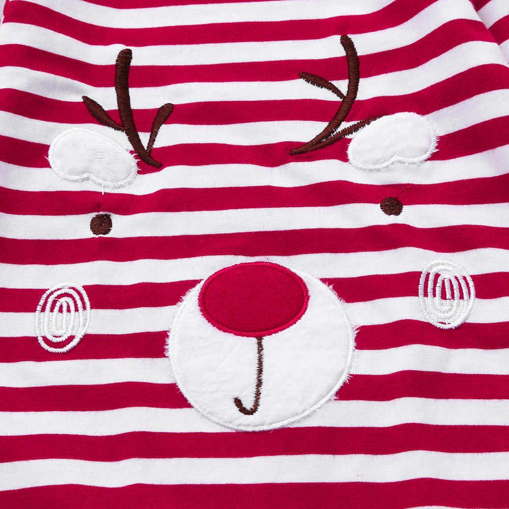baby clothing overalls for children New year christmas newborn kid boy girls stripe deer rompers snowsuit children's pajamas