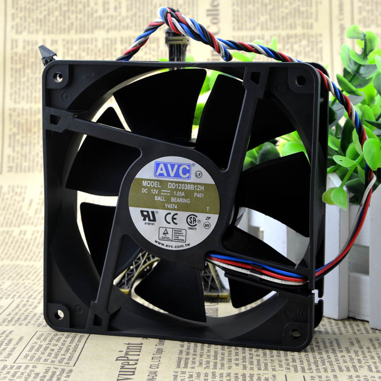 Free Shipping For AVC DD12038B12H, P401 DC 12V 1.05A, 4-wire 4-pin 150mm, 120x120x38mm Server Square cooling <font><b>fan</b></font> image