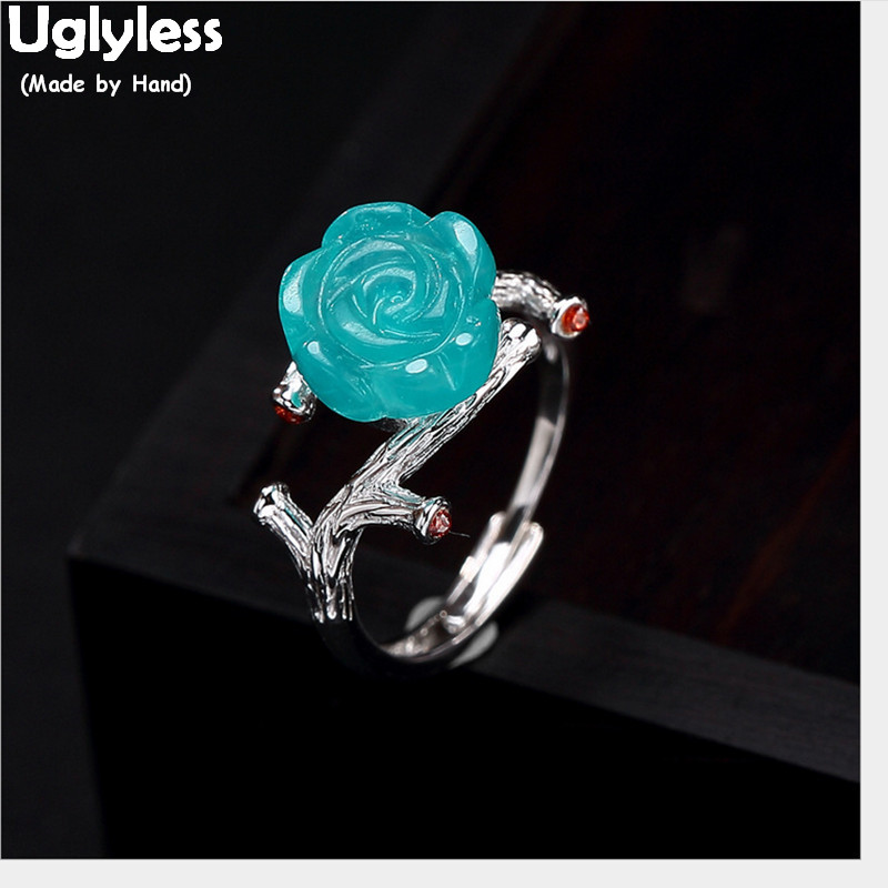 Uglyless 100% <font><b>Real</b></font> Solid <font><b>925</b></font> Sterling Silver Natural Amazonite Blue Flower <font><b>Rings</b></font> <font><b>for</b></font> <font><b>Women</b></font> Rose Open <font><b>Ring</b></font> Exotic Fine Jewelry image
