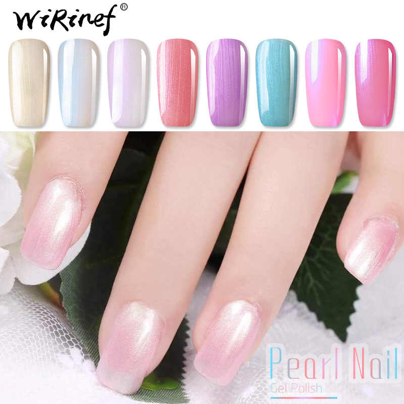 WiRinef Moda Pérola Gel UV Polonês Brilhando Cor Do Mar Shell Verniz de Unhas de Gel Base Top Coat Unha Gel Venda Quente