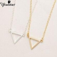 Yiustar New Triangle Shape Necklace 2017 Collar Gold Silver Women Wholesale Elegant Cute Small Pendant Fashion Necklace XL068