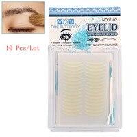 10 Pçs/lote Mulheres Olho Adesivos 120 Pares Pálpebra Dupla Fitas Listras fibra Invisível Pálpebra Dupla Garfo Bar Para Ferramentas de Maquiagem