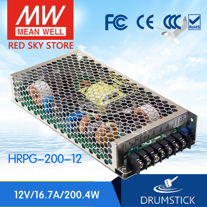 MEAN WELL HRPG-200-12 12V 16.7A meanwell HRPG-200 12V 200.4W Single Output with PFC Function  Power Supply 3mean well original epp 200 12 12v 11 7a meanwell epp 200 12v 140 4w single output with pfc function