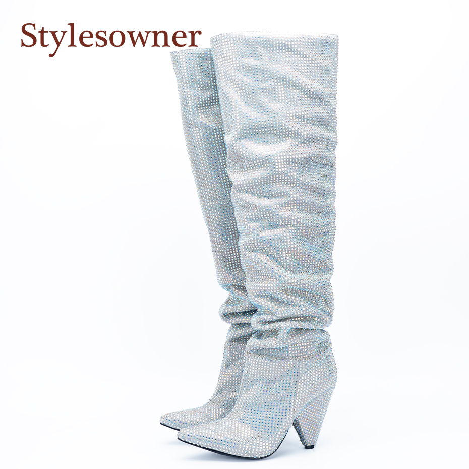 Stylesowner Real Photo Spike Heel Rhinestone Boots Bling Black White Slip On Wrinkle Knee Boots Pointy Toe Most Fashion BootieStylesowner Real Photo Spike Heel Rhinestone Boots Bling Black White Slip On Wrinkle Knee Boots Pointy Toe Most Fashion Bootie