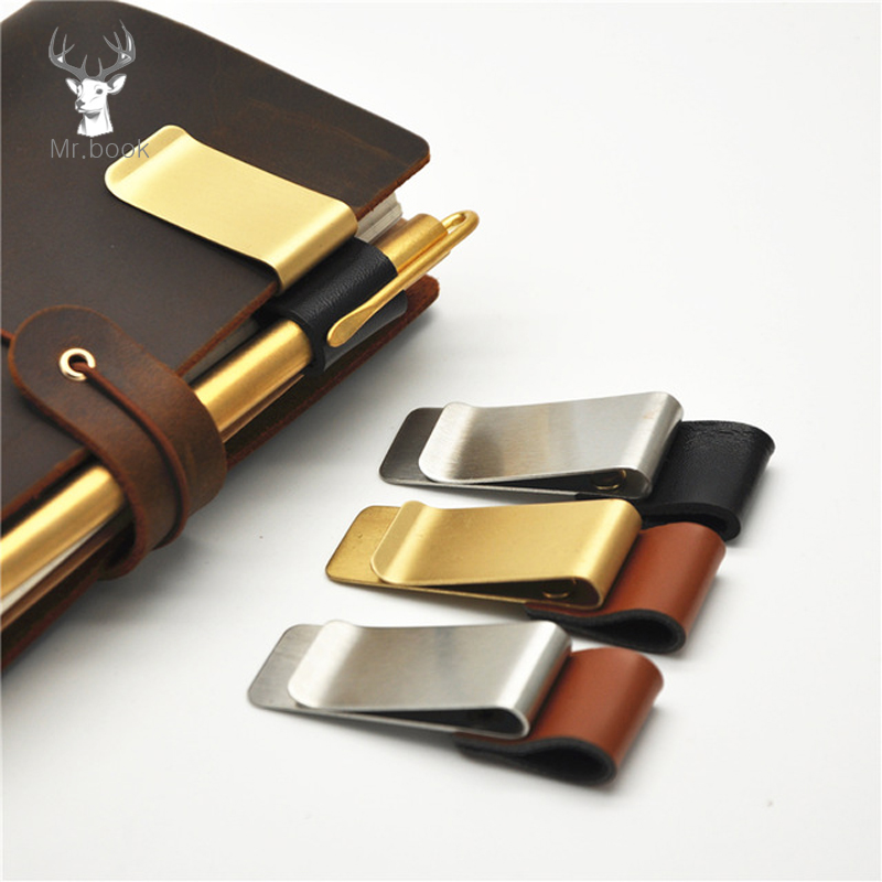5pcs Metal Leather Pen Holder Brass Stainless Steel Pencil Clip Vintage Dairy Notebook Pen Holder Spiral Loose Leaf Memo Clip