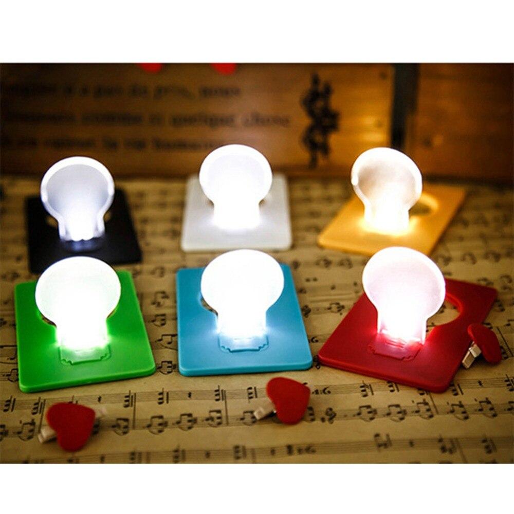 Portátil Mini Cartão da Carteira de Bolso Led Cartão de Luz Da Noite Da Lâmpada de Iluminação Criativa Bonito Cartão de Papel Lanterna