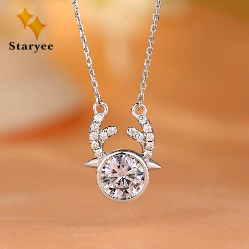 Lovely Deer Moissanite Diamond Pendant Necklaces 1CT VS G Charles Colvard Gem Genuine 18K 750 Solid White Gold Jewelry For Women genuine 18k 750 rose gold 1ct hearts arrows test positive lab grown moissanite diamond engagement pendant necklace chain women