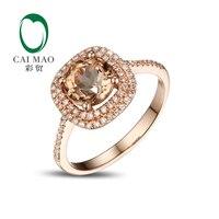 1.49ct VS 7.0 мм круглый Morganite Pave Diamond Настоящее 14 К розовое золото Обручение кольцо