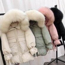 Big Fake Fur Collar winter jacket 2018 new Lantern sleeve Woman Parka Outerwear Warm Hooded Cotton Padded Long Jacket Plus Size