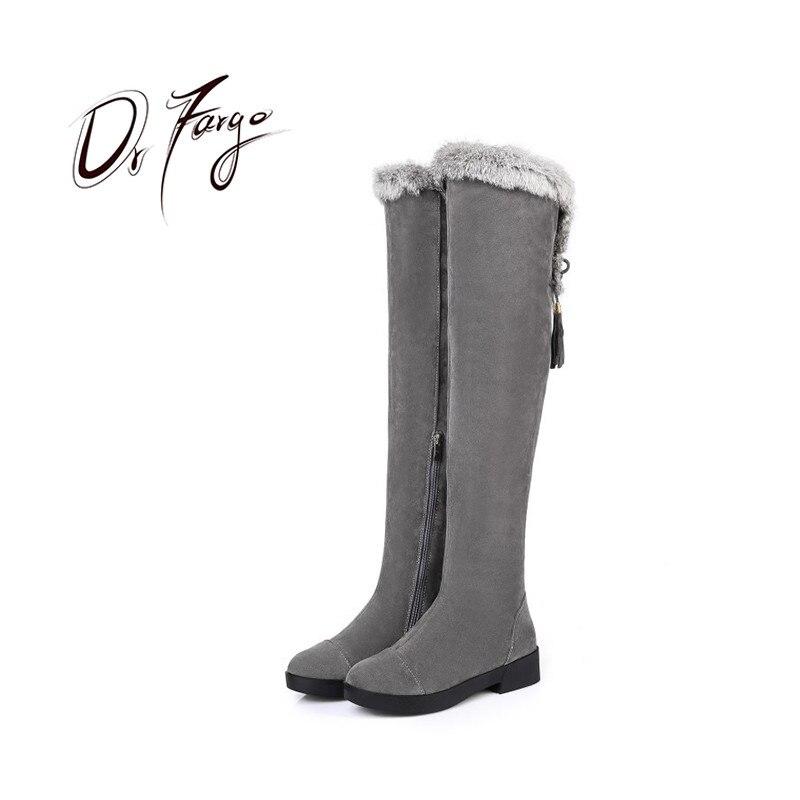 DRFARGO Shoes Women Over Knee Boots Rabbit Fur Top Zipper Platform Boots Round Toe Faux Suede lace up Warm Plush Shos Big size43