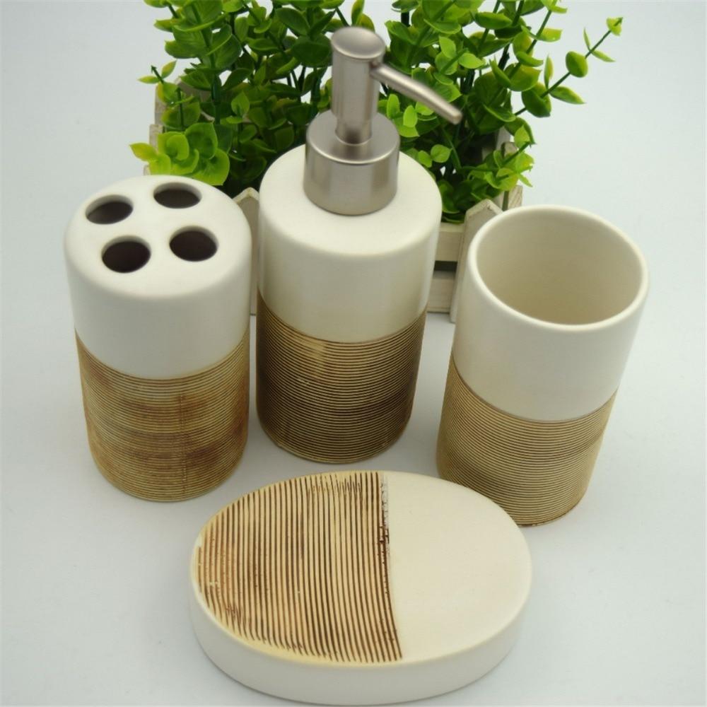 Bathroom Accessories Kit Banheiro Banyo Aksesuarlari Chocolate Four Piece  Ceramic Bathroom Toiletries Acessorios Para Banheiro