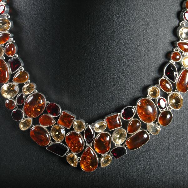 40c8d0bb0bfb Handmade Indian 925 Silver Stone Beads Necklace Lady Necklace Charming  Bohemia Necklace