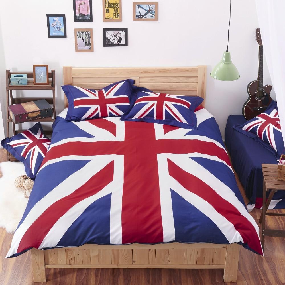 house decoration 4pcs cotton bed set bed linen sheets duvet cover sheets mattress cover summer style england flag ropa de cama