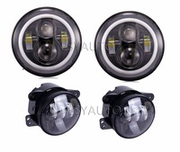 1 Pair 7 Inch Round LED Headlight With White DRL Angel Eyes 40W 4 30W Fog