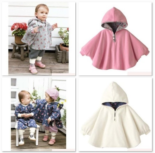 2016 Baby Hoodies Coats Reversible Mantle Cape Pink White girl's outfits