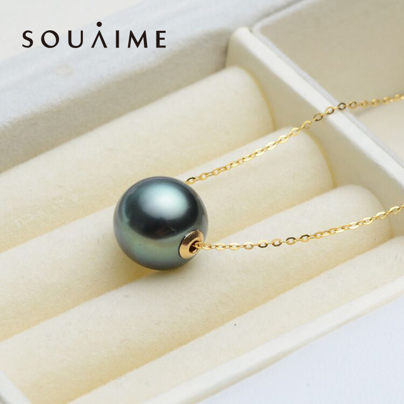 Tahitian Seawater Black Pearl 18k Gold 9-10mm Round Seawater Pearl With 18k Gold Women'S Boutique Jewelry Valentine'S Day Gift yoursfs heart necklace for mother s day with round austria crystal gift 18k white gold plated