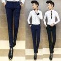2016 новые мужские деловые случайные штаны Моды личности Тонкий сплошной цвет брюки ноги Микро-бомбы узкие брюки мужчина брюки